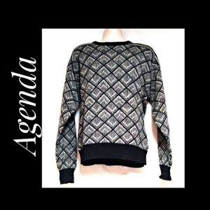 Agenda Men's Sweater Black Gray Multi Size XL